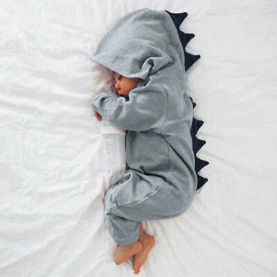 Newborn Infant Baby Boy Girl Kids Dinosaur Hooded Romper Jumpsuit Clothes Outfit 5