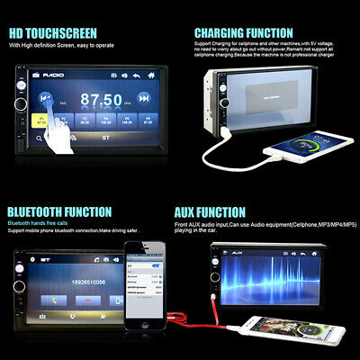 "7"" Double 2DIN Car MP5 Player Bluetooth Touch Screen Stereo Radio USB AUX Camera 7"