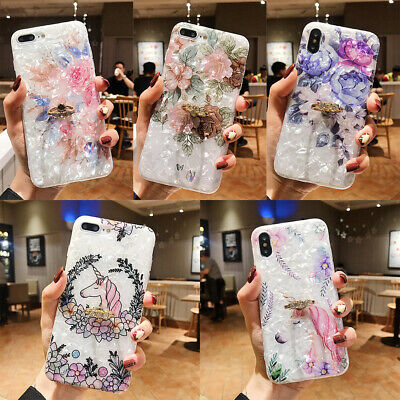 For iPhone XS Max XR 6s 7 8 Plus X Shell Flower Holder Stand Soft TPU Case Cover 3