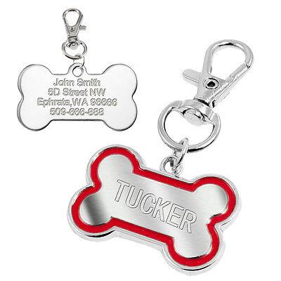 Bone Shape Pet Dog Tags Engraved Dog Cat Phone Tag Free Clicker Whistle 9
