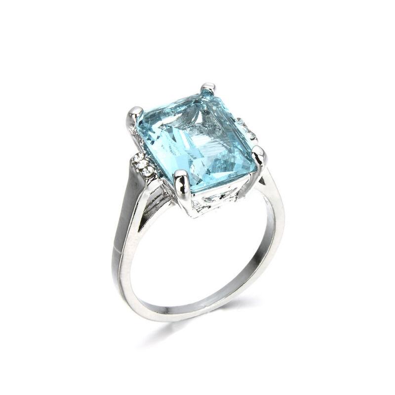 925 argent femmes bijoux en aigue-marine Bague de mariage Taille 6-10 FR 6