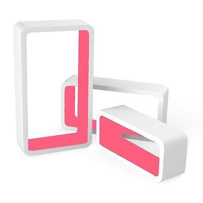 Set of 3 Floating Wall Shelf Floating Shelves Storage living Lounge Wood Cube 16 10