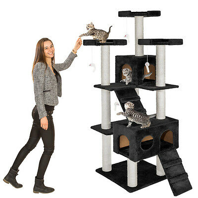 Arbre à chat griffoir grattoir 186cm NOIR 2 • EUR 77,90