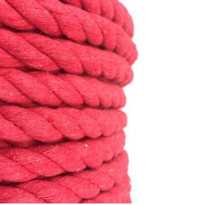 24 mm Rouge Coton naturel Corde X 15 Mètres Natural Twisted Soft MACRAME THEATRE