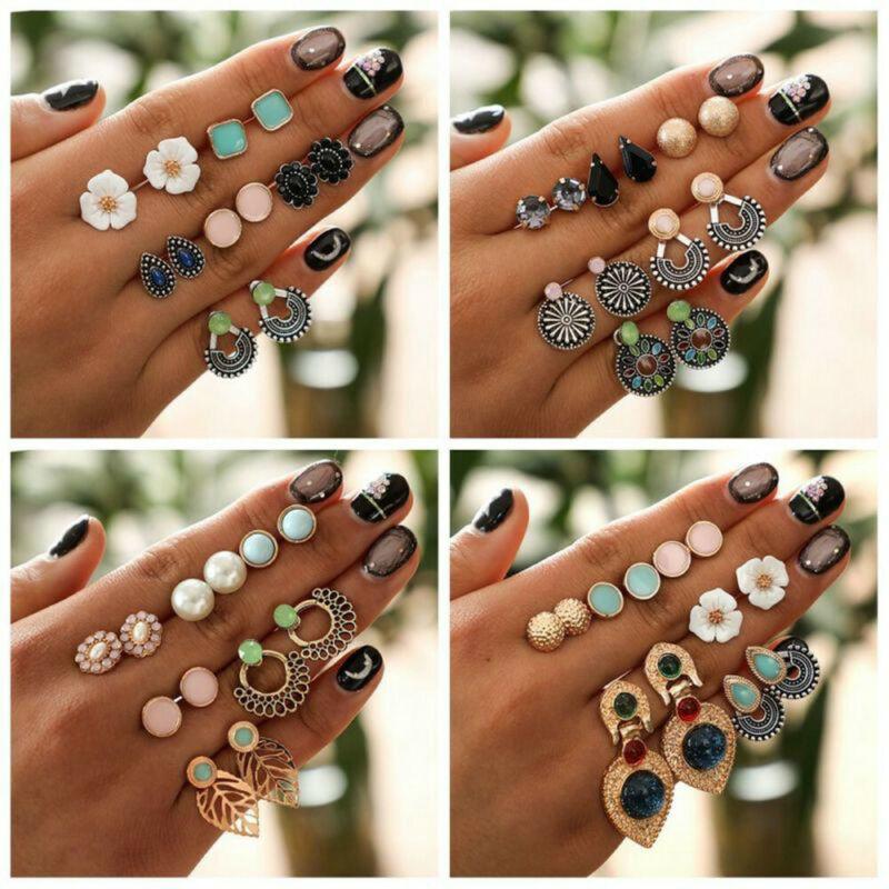 24 Pairs Fashion Rhinestone Crystal Pearl Earrings Set Women Ear Stud Jewelry 5