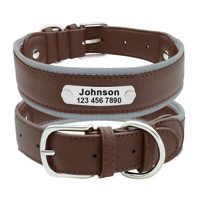 Reflective Personalized Dog Harness Padded Leather Large Dogs Engraved Collar 10