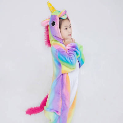 Rainbow Unicorn Kids Kigurumi Animal Cosplay Costume Onesie01 Pajamas Sleepwear 2