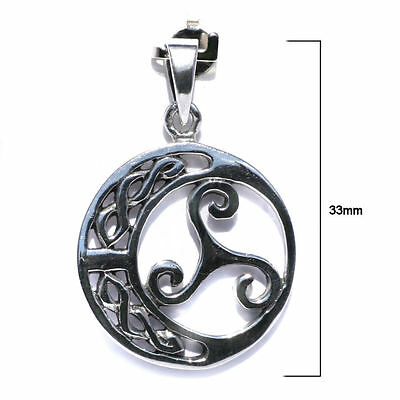 P016 Solid Sterling Silver Triskelion with Celtic Moon Triskele Trinity Fylfot Pendant