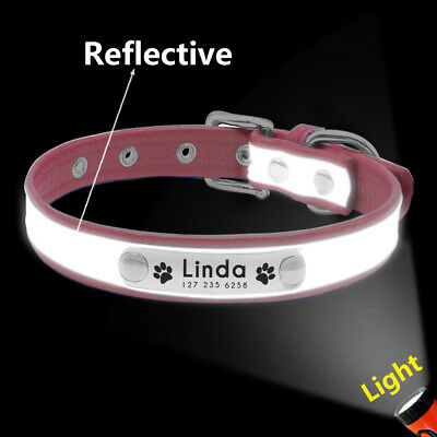 Reflective Personalised Dog Collar Cat Puppy Small Dog Collar Name Phone Engrave 8