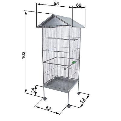 Volière cage à oiseaux canaris perruches perroquets metal argentée 162cm haute 6