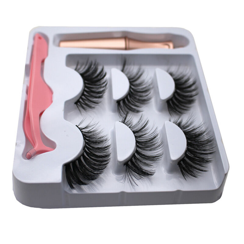 SKONHED 3 Pairs Magnetic Eyelashes With 1Pc Magnetic Eyeliner and Tweezer Set A+ 8