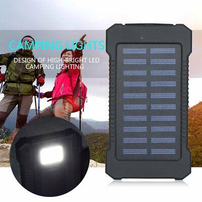 Solar Waterproof 500000mAh Power Bank 2 USB LED External Battery Fr Mobile Phone 2