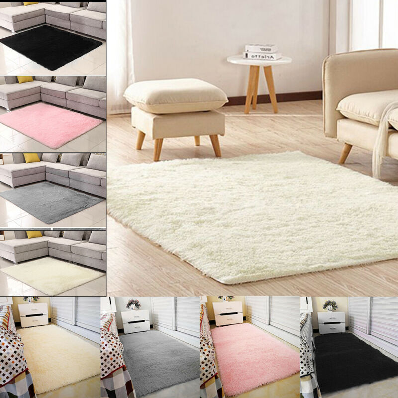 Fluffy Rugs Anti-Skid Shaggy Area Rug Dining Room Carpet Floor Mats Home Bedroom 2