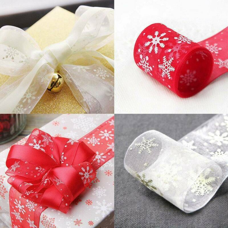 10M Wired Red & Gold Glitter Snowflake Christmas Ribbon Xmas Cake Wreath Tree 2