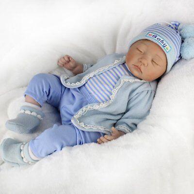 Realistic Reborn Baby Doll Floppy Hair Lifelike Newborn Baby Boy Doll +Clothes 2