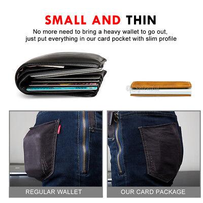 RFID Blocking Leather Credit Card Holder Case Money cash Wallet Clip Purse OZ 8