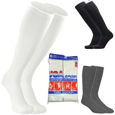 3,6,12 Pairs Men Athletic Sports Cotton Tube Socks Size 9-15 White Black Gray 2