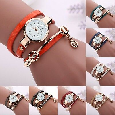 2016 Fashion Womens Ladies Watch Stainless Steel Leather Bracelet Wrist Watches 12