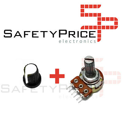 3x Potenciometro B100K lineal 100k + 3x Embellecedor boton Arduino knob 16mm 3