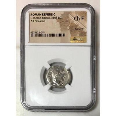 Roman Republic L. Thorius Balbus, c105 BC NGC Ch F ***Rev. Tye's*** #3015200 2