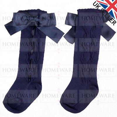 Girls Knee High Bow Socks Spanish Style Slotted Ribbon Socks Uk Designer Kids 9
