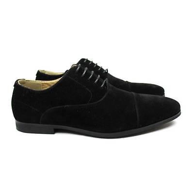 New Mens Black Suede Dress Shoes Lace Up Oxfords Slip On Option