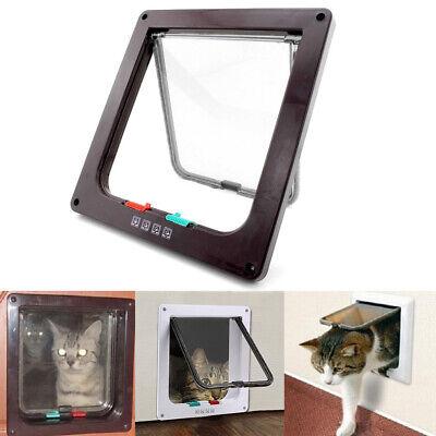 Brown 4 Way Locking Lockable Pet Cat Puppy Dog Magnetic Flap Door Gate S M L 2