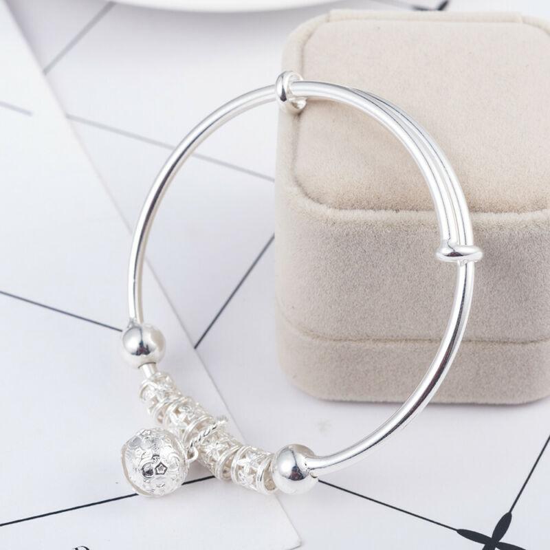 Fashion Women Jewelry 925 Sterling Silver Plated Cuff Bracelet Charm Bangle Gift 11