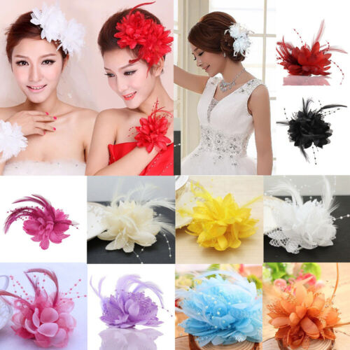 14 Colors Flower Feather Fascinator Bridal Bead Corsage Hair Clips Hairband Gift 3