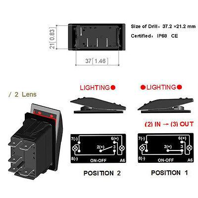 Auto KFZ 12V 20A Wippschalter Wippenschalter LED beleuchtet Einbauschalter