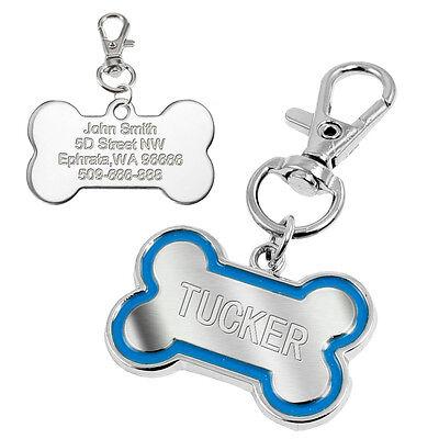 Bone Shape Pet Dog Tags Engraved Dog Cat Phone Tag Free Clicker Whistle 7