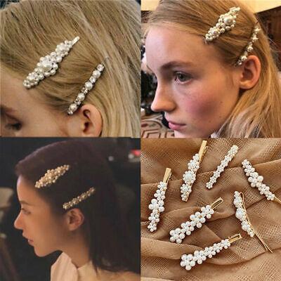 Fashion Gold Silver Pearl Metal Hair Clip Clamps Hairpins Barrette Slide Clip 12