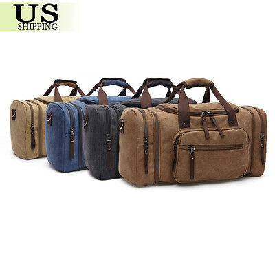 Canvas Travel Tote Luggage Large Men's Weekend Gym Shoulder Duffle Bag & Strap 3
