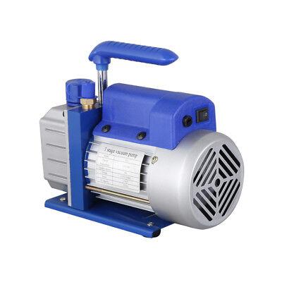 Single Stage Vacuum Pump Rotary Vane 2.5CFM 1/4HP Deep HVAC AC Air Tool Blue New 7