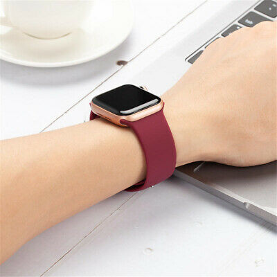 38/42/40/44mm Silicone Sports Band iWatch Strap for Apple Watch Series 5 4 3 2 1 7