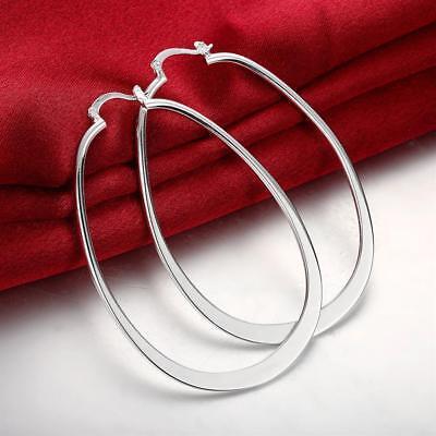 925 Sterling Silver Hoop Pierced Earrings L1 9