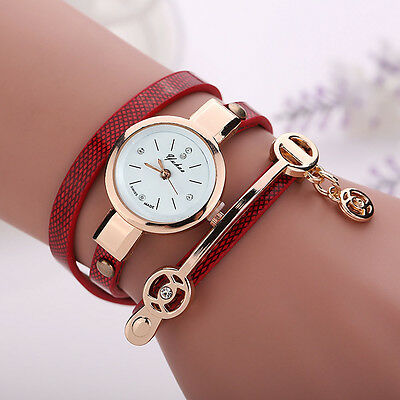 2016 Fashion Womens Ladies Watch Stainless Steel Leather Bracelet Wrist Watches 6