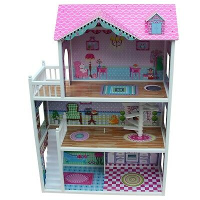 3 Storey Large Mansion Kids Girl Wooden Doll House Pink Dollhouse Furniture 18pc 8