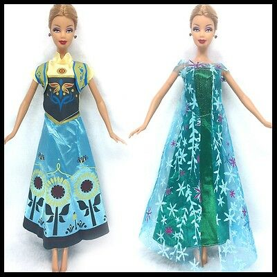 New Barbie doll clothes outfit princess wedding dress gown 2 x Frozen Outfits. 5