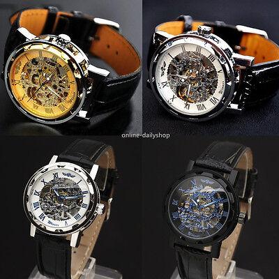 Men's Skeleton Mechanical Wrist Watch Steampunk Luxury Black Leather Stainless 2