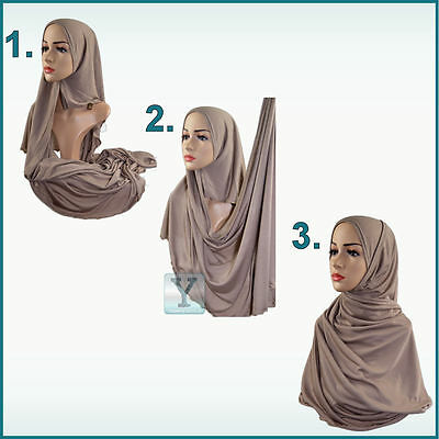 ae8cd7499042 1 of 3 One Piece Hijab ✿ Ready Made Pull on Scarf Jersey Instant Pin free  Amira islamic