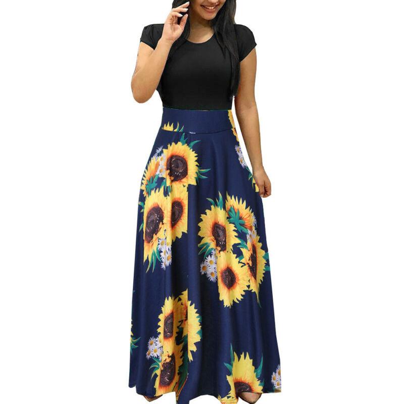Women Summer Boho Long Maxi Dress Evening Cocktail Party Beach Dresses Sundress 4