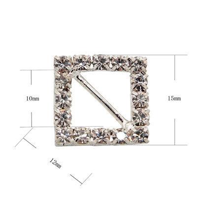 10 Circle, Heart, Or Square Diamante Rhinestone Crystal Buckle Ribbon Sliders 11