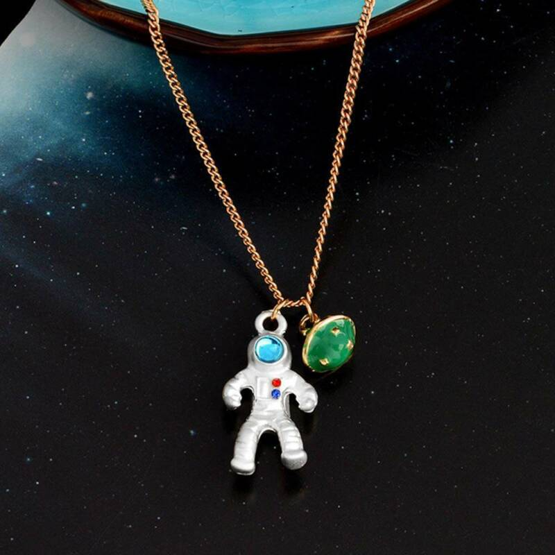 Fashion Astronaut Planet Charm Pendant Necklaces Clavicle Chain Jewelry 4