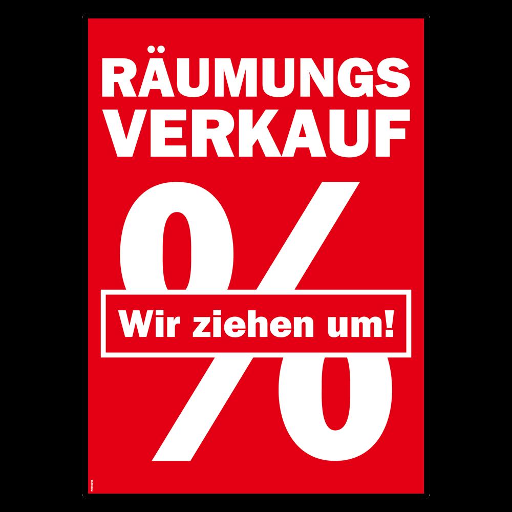 """Plakat /""""Räumungsverkauf  Wir bauen um/"""" Umzug Umbau Prozentzeichen Reduziert"""