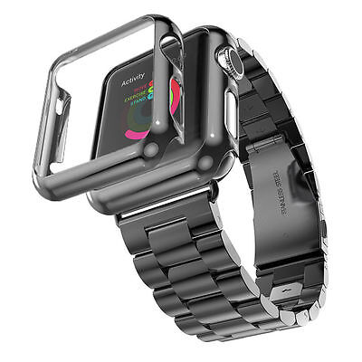 UK Stainless Steel Strap Watch Band+Adapter+Case For Apple iWatch Series 3 & 2&1