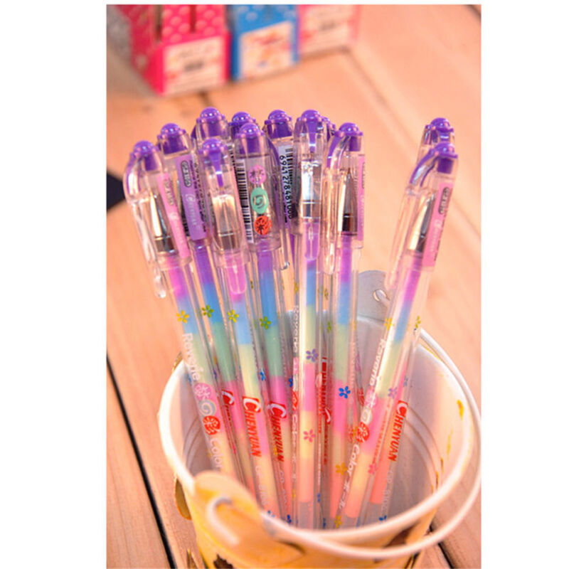 1Pc Novelty Gradient 6 Colors In 1 Gel Ink Pen Colorful Rainbow Student Pen Gift 3