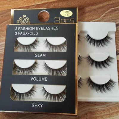 3 Pairs 100% Real 3D Mink Makeup Cross False Eyelashes Eye Lashes Handmade 2