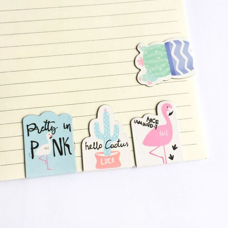 4PCs Cactus Plant Flamingo Magnet Bookmark Paper Clip School Office Supply 2