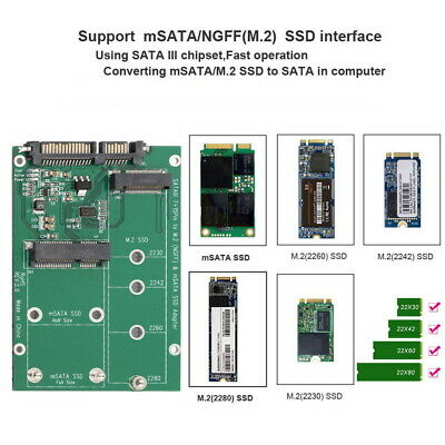mSATA / M2 NGFF SSD to SATA Converter Adapter Combo Card M.2 2 In 1 6